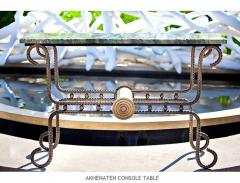 Troy Smith Contemporary Solid Steel and Thick Marble Topped Console - 443893