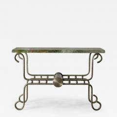 Troy Smith Contemporary Solid Steel and Thick Marble Topped Console - 445795