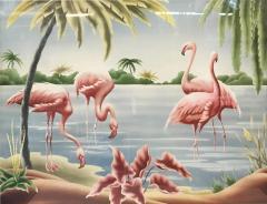 Turner Billy Seay 1922 2012 Airbrush Flamingos Hawaiian Art for Turner - 1356599