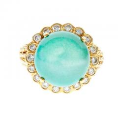 Turquoise Dome Diamond Yellow Gold Cocktail Ring - 389513