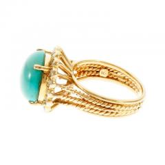 Turquoise Dome Diamond Yellow Gold Cocktail Ring - 389514