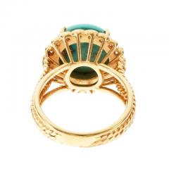 Turquoise Dome Diamond Yellow Gold Cocktail Ring - 389515