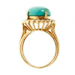 Turquoise Dome Diamond Yellow Gold Cocktail Ring - 389516