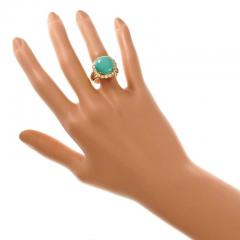 Turquoise Dome Diamond Yellow Gold Cocktail Ring - 389517