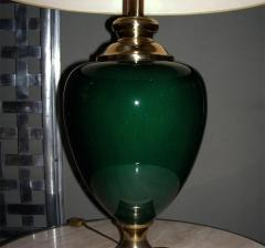 Two 1980s lamps in green ceramic - 913565