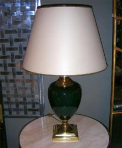 Two 1980s lamps in green ceramic - 913567