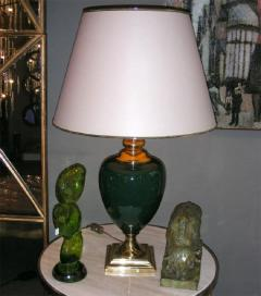 Two 1980s lamps in green ceramic - 913569
