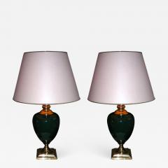 Two 1980s lamps in green ceramic - 914980