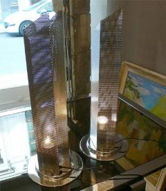 Two 1980s perfored metal lamps - 913786
