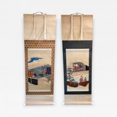 Two Antique Japanese Hanging Scroll Paintings - 1251025