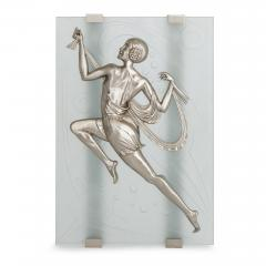Two Art Deco style frosted glass and silvered bronze wall sconces - 1274345
