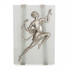 Two Art Deco style frosted glass and silvered bronze wall sconces - 1274350