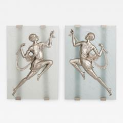 Two Art Deco style frosted glass and silvered bronze wall sconces - 1275881