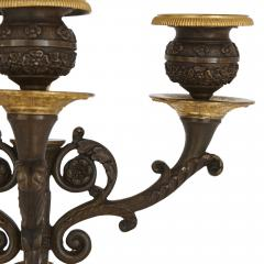 Two Empire style gilt and patinated bronze candelabra - 1907368