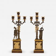 Two Empire style gilt and patinated bronze candelabra - 1907961