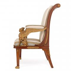 Two Empire style mahogany armchairs with gilt bronze mounts - 1451583