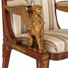 Two Empire style mahogany armchairs with gilt bronze mounts - 1451586