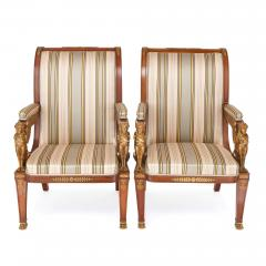 Two Empire style mahogany armchairs with gilt bronze mounts - 1451588