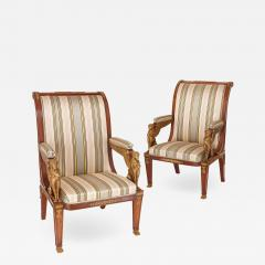 Two Empire style mahogany armchairs with gilt bronze mounts - 1453424