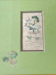 Two Framed Chinese Antique Textile Fragments Qing Dynasty Provenance - 1766537