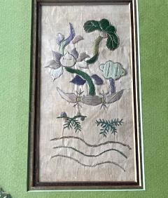 Two Framed Chinese Antique Textile Fragments Qing Dynasty Provenance - 1766539