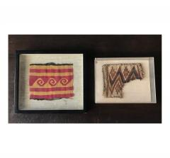 Two Framed Pre columbian Textile Fragments Nazca Culture - 534806