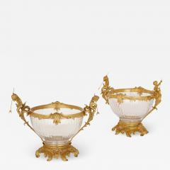 Two French Rococo style glass and gilt bronze bowls - 1914537