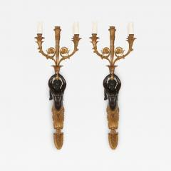 Two French gilt and patinated bronze sconces - 2015772