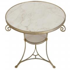 Two French marble and gilt bronze circular side tables - 1287218
