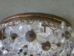 Two Italian Mid Century Style Solid Crystal Floral Ceiling Flush Mount Fixtures - 1787538