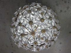 Two Italian Mid Century Style Solid Crystal Floral Ceiling Flush Mount Fixtures - 1787539