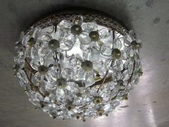 Two Italian Mid Century Style Solid Crystal Floral Ceiling Flush Mount Fixtures - 1787540