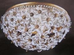 Two Italian Mid Century Style Solid Crystal Floral Ceiling Flush Mount Fixtures - 1787542
