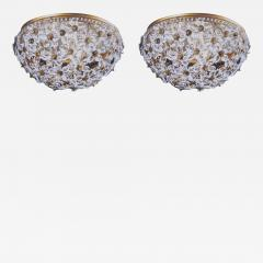 Two Italian Mid Century Style Solid Crystal Floral Ceiling Flush Mount Fixtures - 1791352