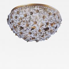 Two Italian Mid Century Style Solid Crystal Floral Ceiling Flush Mount Fixtures - 1791353