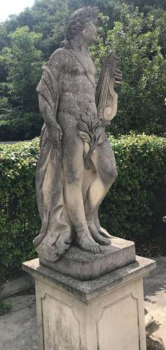 Two Italian Stone Garden Sculptures of Apollo and Roman Goddess - 1661390