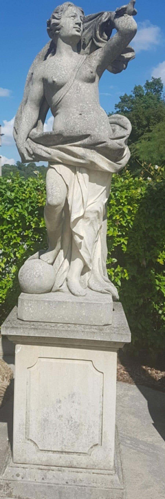 Two Italian Stone Garden Sculptures of Apollo and Roman Goddess - 1661392