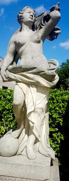 Two Italian Stone Garden Sculptures of Apollo and Roman Goddess - 1661394