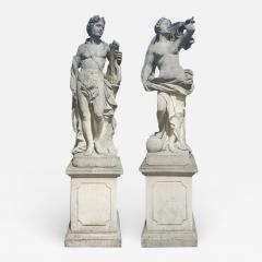 Two Italian Stone Garden Sculptures of Apollo and Roman Goddess - 1662419