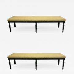 Two Large French Carved Wood Modern Neoclassical Benches - 1791335
