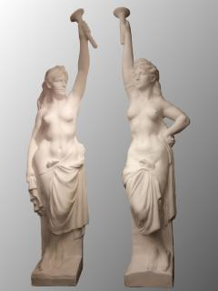 Two Monumental Nymphs in Plaster France circa 1940 - 915667