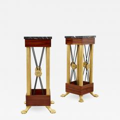 Two Neoclassical Empire Style Bronze and Marble Pedestals - 1987592