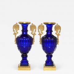 Two Neoclassical Style Russian Cut Glass and Ormolu Vases - 1943283
