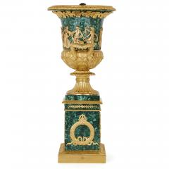 Two Neoclassical style gilt bronze and malachite Campagna vases - 1287360