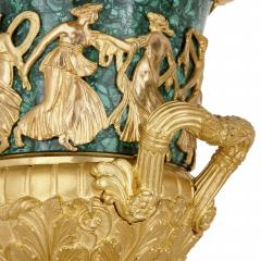 Two Neoclassical style gilt bronze and malachite Campagna vases - 1287361