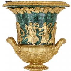 Two Neoclassical style gilt bronze and malachite Campagna vases - 1287362