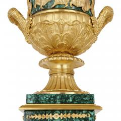 Two Neoclassical style gilt bronze and malachite Campagna vases - 1287363