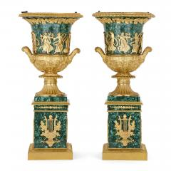 Two Neoclassical style gilt bronze and malachite Campagna vases - 1287366
