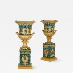 Two Neoclassical style gilt bronze and malachite Campagna vases - 1288842