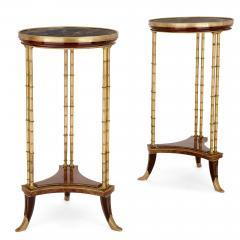 Two Neoclassical style marble gilt bronze and mahogany side tables - 1274243